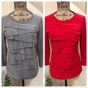 Two tops by Vince Camuto, Gray & red